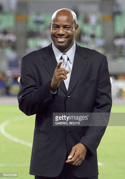 USA's athlete Mike Powell holder of the long jump record poses 31 August 2007 at the 11th IAAF World Athletics Championships in Osaka AFP PHOTO /...