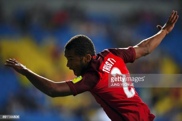 USA's Auston Trusty celebrates scoring during their U20 World Cup round of 16 football match between the US and New Zealand in Incheon on June 1 2017...