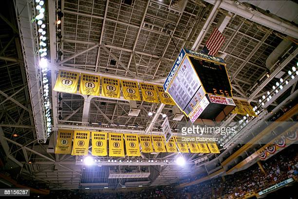 BOSTON MA 1980's Banners of the Boston Bruins hang from rafters at Boston Garden which is the home of the Boston Bruins