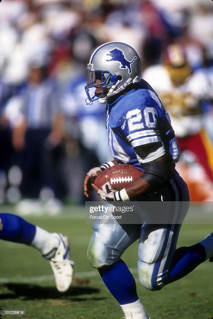 C. - CIRCA 1990's: Barry Sanders #20 of the Detroit Lions carries the ball against the Washington Redskins circa early 1990's during an NFL football game at RFK Stadium in Washington D.C.. Sanders played for the Lions from 1989-98.