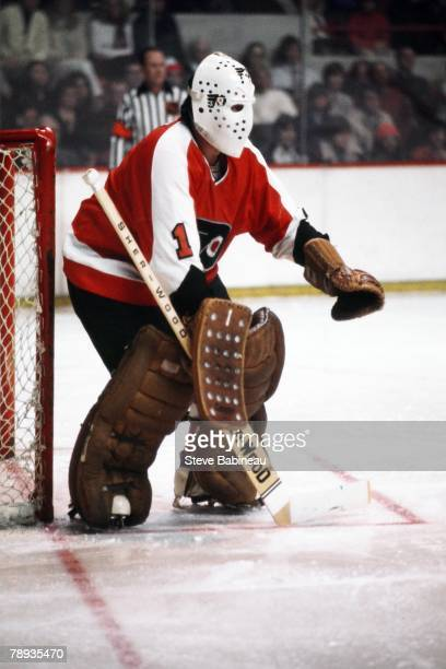 BOSTON MA 1970's Bernie Parent of the Philadelphia Flyers plays against the Boston Bruins