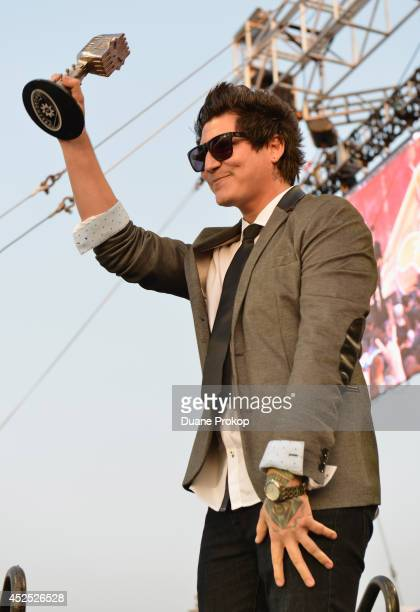 APMA's Best Bassist winner Jamie Preciado of Pierce The Veil at the 2014 Gibson Brands AP Music Awards at the Rock and Roll Hall of Fame and Museum...