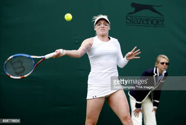 USA's Bethanie MattekSands in action against Japan's Misaki Doi on day three of the 2011 Wimbledon Championships at the All England Lawn Tennis and...