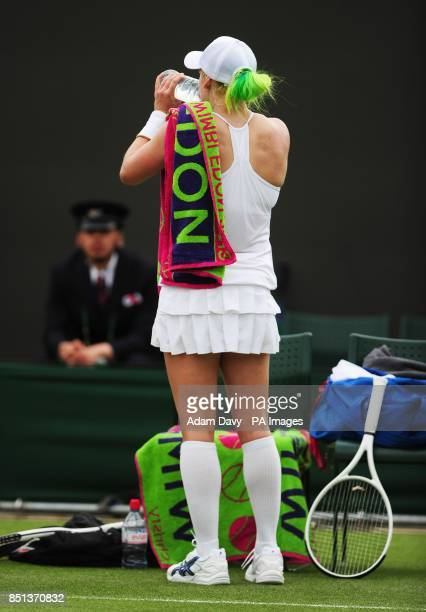USA's Bethanie MattekSands in her match against Germany's Angelique Kerber during day Two of the Wimbledon Championships at The All England Lawn...