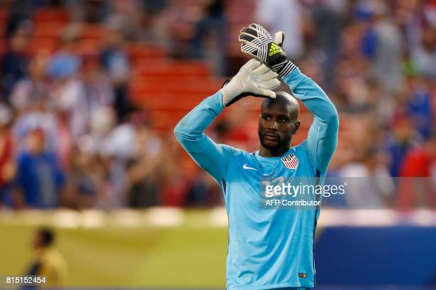 USA's Bill Hamid celebrates after beating Nicaragua during in a CONCACAF Gold Cup soccer match in Cleveland Ohio on July 15 2017 USA beat Nicaragua...