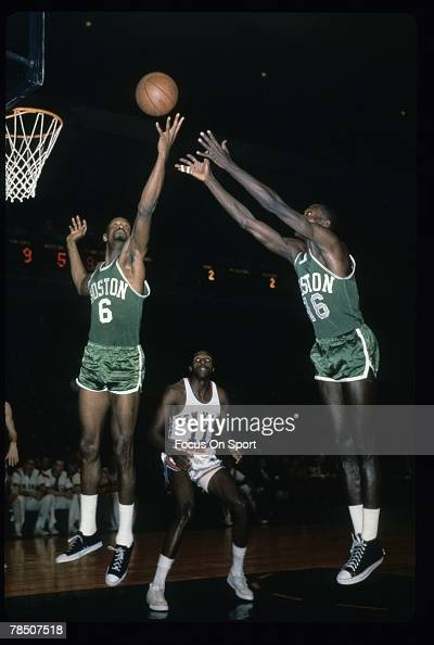 NEW YORK NY CIRCA 1960's Bill Russell of the Boston Celtics battles for a rebound against the New York Knicks during a circa 1960's NBA basketball...