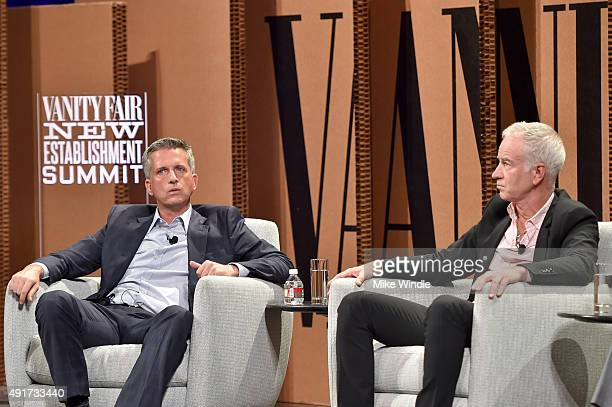HBO's Bill Simmons and tennis legend John McEnroe speak onstage during 'Ahead of the Curve The Future of Sports Journalism' at the Vanity Fair New...