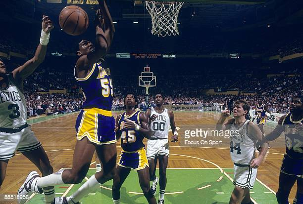 BOSTON MA CIRCA 1980's Billy Thompson of the Los Angeles Lakers battles for a rebound with Dennis Johnson of the Boston Celtics during a mid circa...