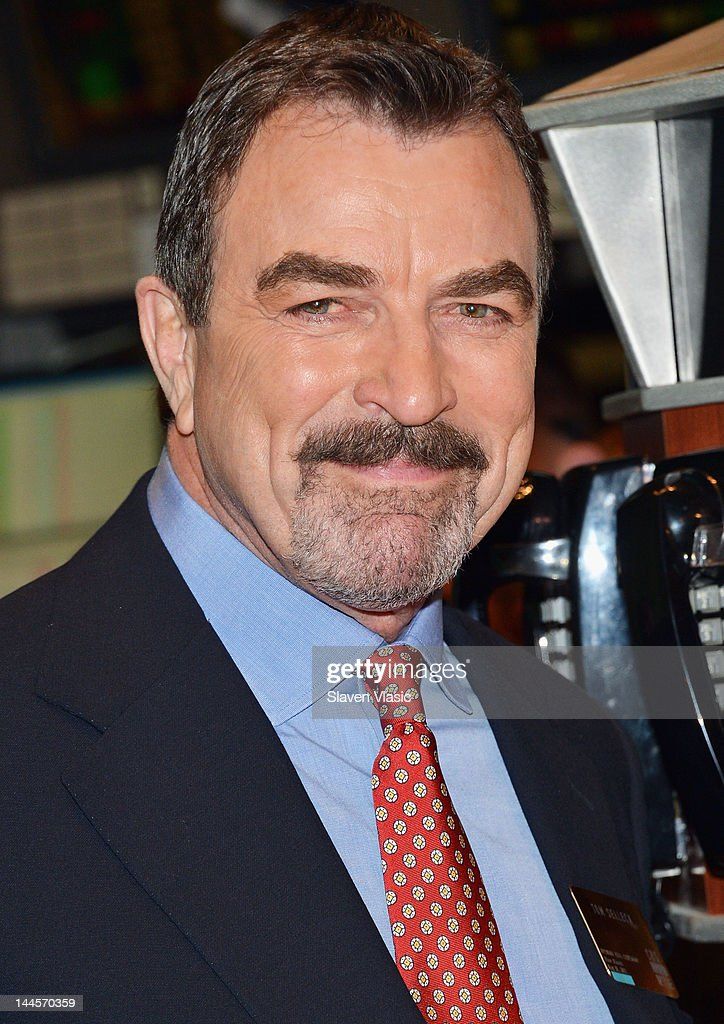 CBS's 'Blue Bloods' cast member <a gi-track='captionPersonalityLinkClicked' href=/galleries/search?phrase=Tom+Selleck&family=editorial&specificpeople=208627 ng-click='$event.stopPropagation()'>Tom Selleck</a> visits the New York Stock Exchange on May 16, 2012 in New York City.