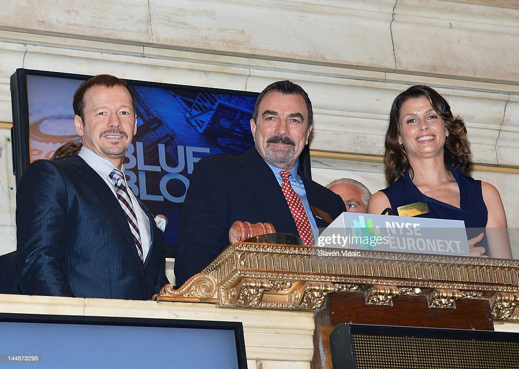 CBS's 'Blue Bloods' cast members <a gi-track='captionPersonalityLinkClicked' href=/galleries/search?phrase=Donnie+Wahlberg&family=editorial&specificpeople=220537 ng-click='$event.stopPropagation()'>Donnie Wahlberg</a>, <a gi-track='captionPersonalityLinkClicked' href=/galleries/search?phrase=Tom+Selleck&family=editorial&specificpeople=208627 ng-click='$event.stopPropagation()'>Tom Selleck</a> and <a gi-track='captionPersonalityLinkClicked' href=/galleries/search?phrase=Bridget+Moynahan&family=editorial&specificpeople=204689 ng-click='$event.stopPropagation()'>Bridget Moynahan</a> visit the New York Stock Exchange on May 16, 2012 in New York City.