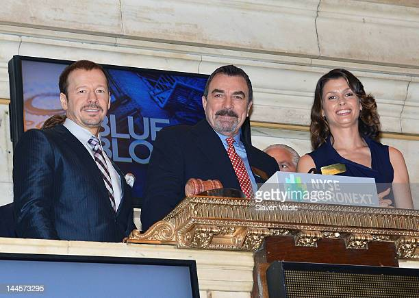 CBS's 'Blue Bloods' cast members Donnie Wahlberg Tom Selleck and Bridget Moynahan visit the New York Stock Exchange on May 16 2012 in New York City