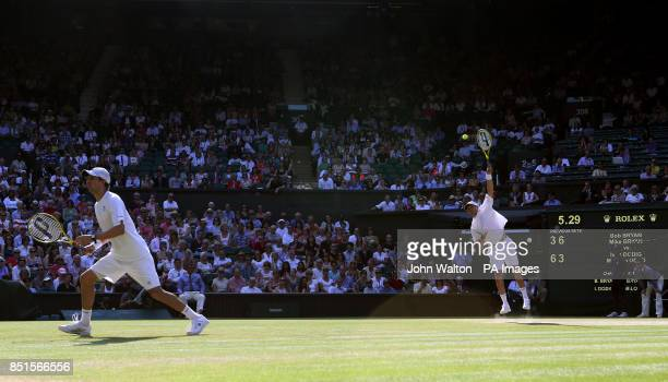 USA's Bob and Mike Bryan in action against Brazil's Marcelo Melo and Croatia's Ivan Dodig in the Mens' Doubles Final during day twelve of the...
