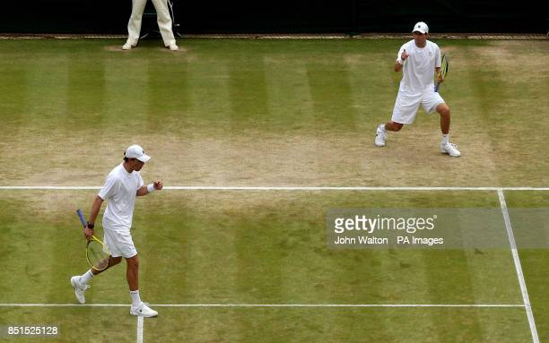 USA's Bob and Mike Bryan in action against India's Rohan Bopanna and France's Edouard RogerVasselin in the Mens Doubles during day ten of the...