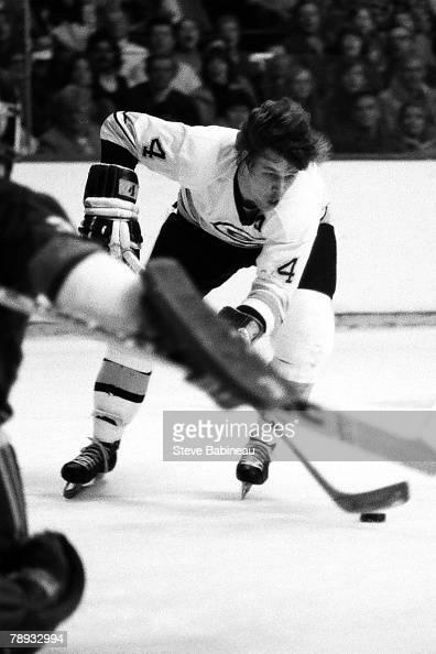 BOSTON MA 1970's Bobby Orr of the Boston Bruins attacks goal against the New York Islanders