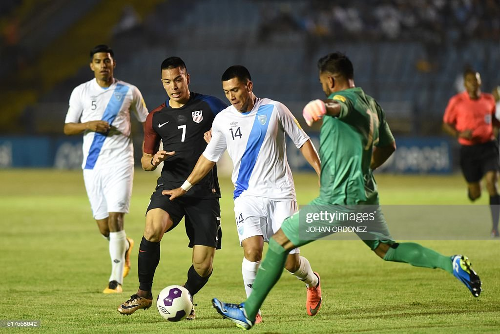 USA's Bobby Wood vies with Guatamala's Rafael Morales during their Russia 2018 FIFA World Cup North and Central America Qualifiers' football match in...