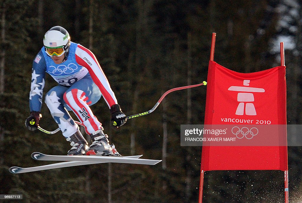USA's Bode Miller is seen during the downhill of the Men's Vancouver 2010 Winter Olympics Super Combined event at Whistler Creek side Alpine skiing venue on February 21, 2010.