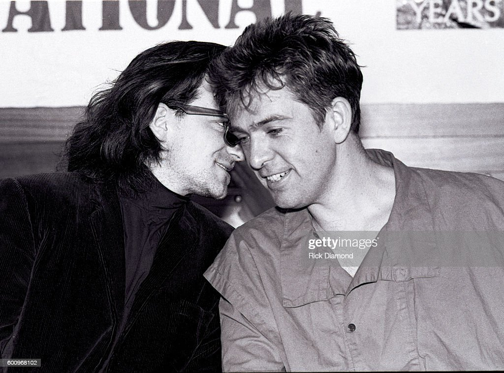 U2's Bono and Singer/Songwriter Peter Gabriel attend a press conference discussing The Conspiracy of Hope tour celebrating Amnesty International's 25th anniversary at The MLK Center on June 4, 1986 in Atlanta Georgia.