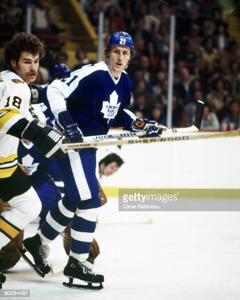 BOSTON MA 1970's Borje Salming of the Toronto Maple Leafs skates in game against the Boston Bruins at Boston Garden
