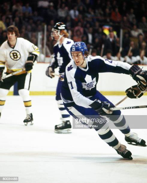 BOSTON MA 1980's Borje Salming of the Toronto Maple Leafs skates in game against the Boston Bruins at Boston Garden