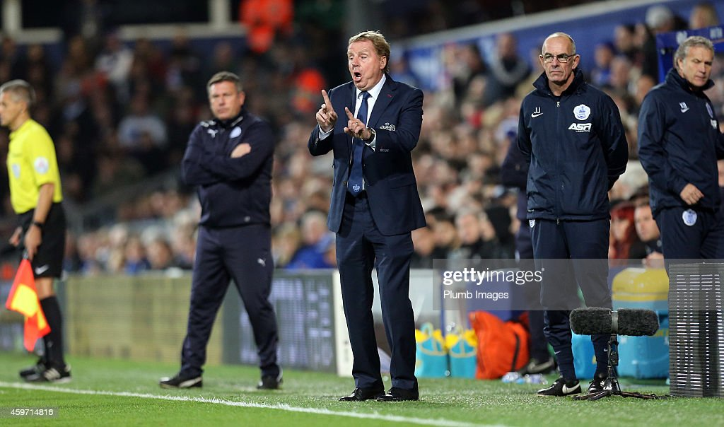 QPR's boss Harry Redknapp during the Barclays premier League match between Queens Park Rangers and Leicester City at Loftus Road on November 29, 2014 in London, England.