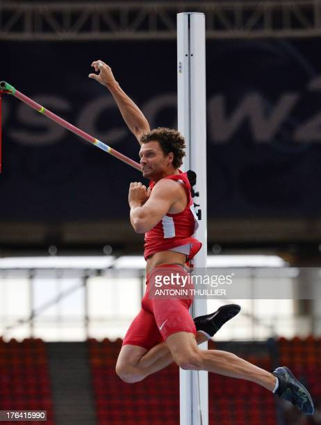 US's Brad Walker competes in the men's pole vault final at the 2013 IAAF World Championships at the Luzhniki stadium in Moscow on August 12 2013 AFP...