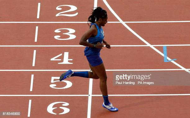 USA's Breanna Clark crosses the line to win the Women's 400m T20 Final setting a new world record during day five of the 2017 World Para Athletics...