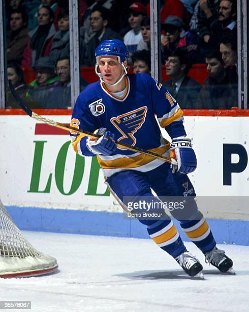 MONTREAL 1990's Brett Hull of the St Louis Blues skates against the Montreal Canadiens in the 1990's at the Montreal Forum in Montreal Quebec Canada