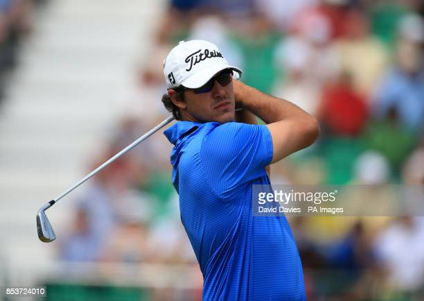 USA's Brooks Koepka tees off the 4th during day two of the 2014 Open Championship at Royal Liverpool Golf Club Hoylake
