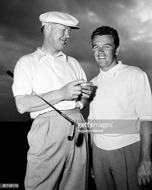AUGUSTA GA 1950's Byron Nelson and Jackie Burke Jr during a 1950's Masters Tournament at Augusta National Golf Club in Augusta Georgia