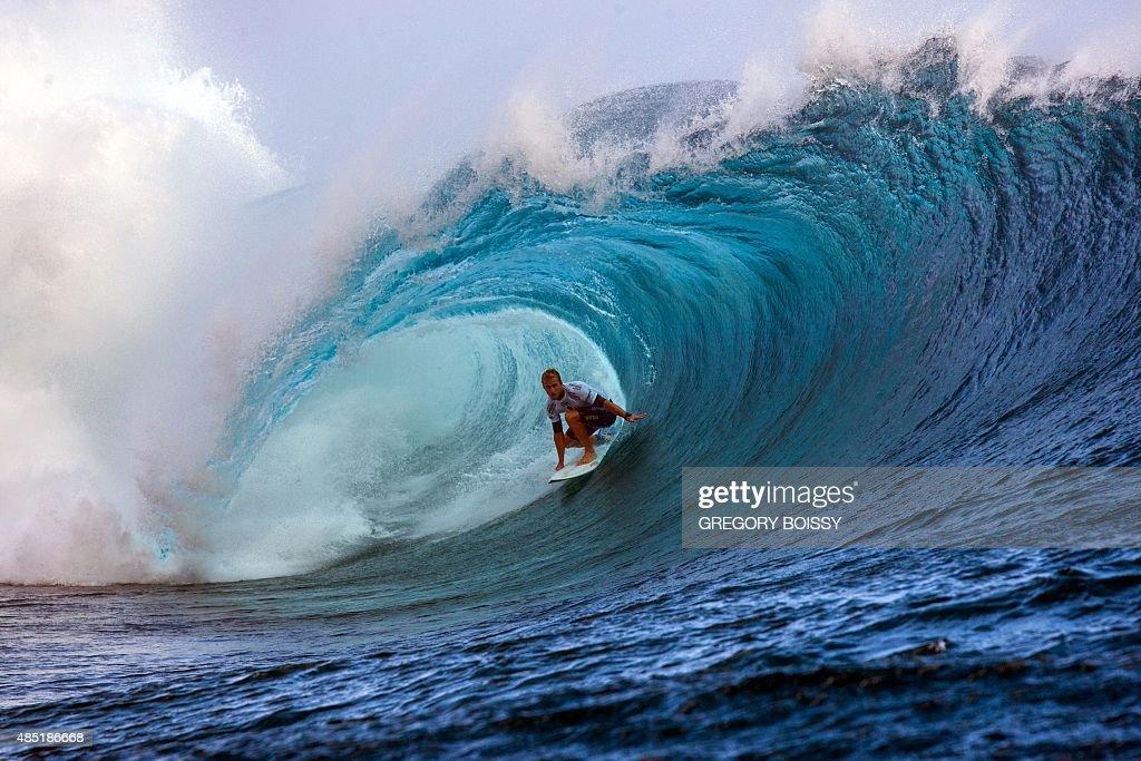 USA's C J Hobgood competes in the 2015 Billabong Pro Tahiti World Surf league tour n°4 along the Teahupo'o coast western of the French polynesia...