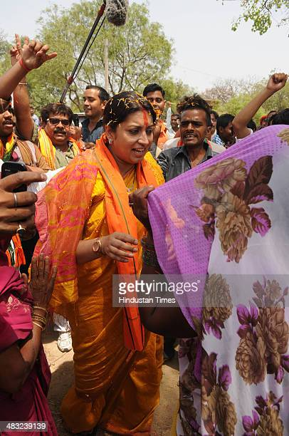 BJP's candidate for Lok Sabha election from Amethi Smriti Irani during campaigning for on April 7 2014 in Amethi India BJP vice president is...