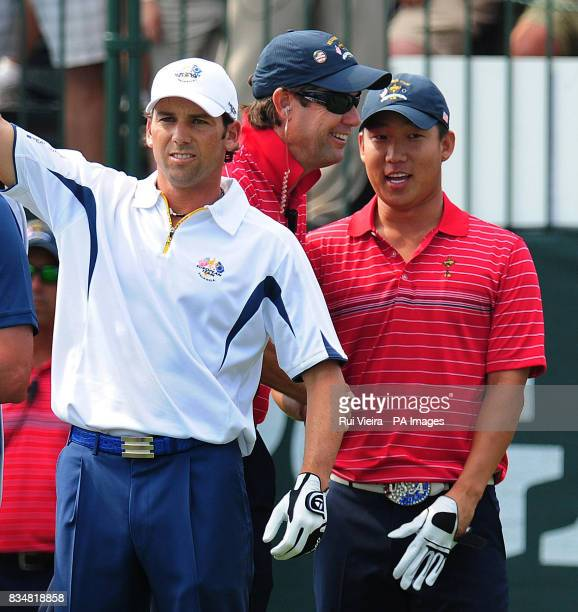USA's Captain Paul Azinger on the 1st with Europe's Sergio Garcia during Singles on Day Three at Valhalla Golf Club Louisville USA