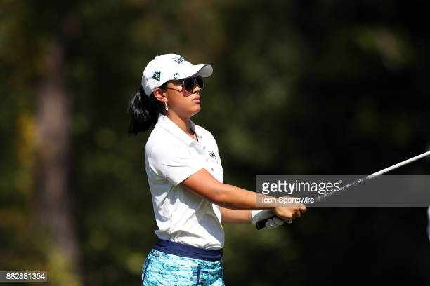 UNCW's Caroline Cahill on the 4th tee during the second round of the Ruth's Chris Tar Heel Invitational Women's Golf Tournament on October 14 at the...