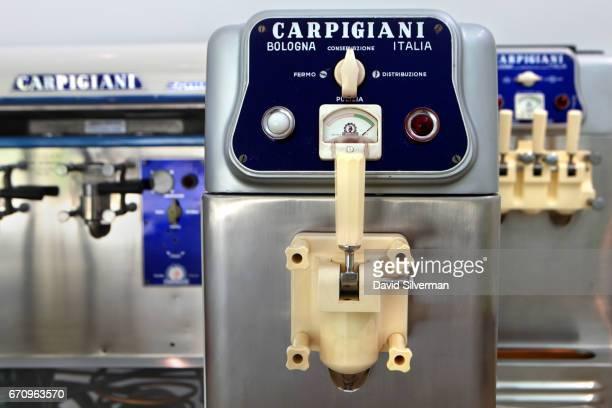 A 1960's Carpigiani Singola softserve machine on display at the Carpigiani Gelato Museum on March 28 2017 in Bologna Italy Italian brothers Bruto and...