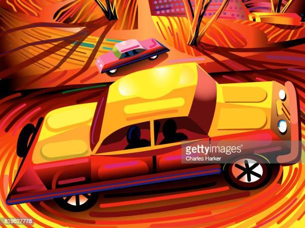 1950's Cars in Orange cartoon Landscape Illustration