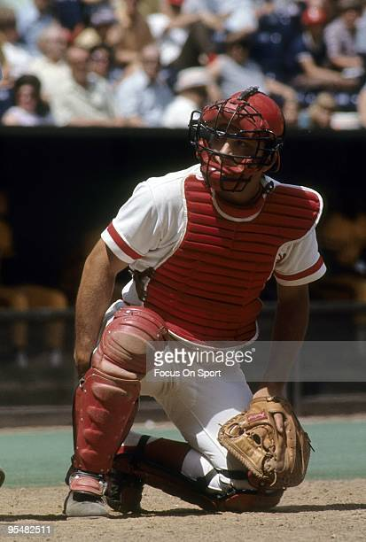 CINCINNATI OH CIRCA 1970's Catcher Johnny Bench of the Cincinnati Reds kneeling behind home plate during a MLB baseball game circa late 1970's at...