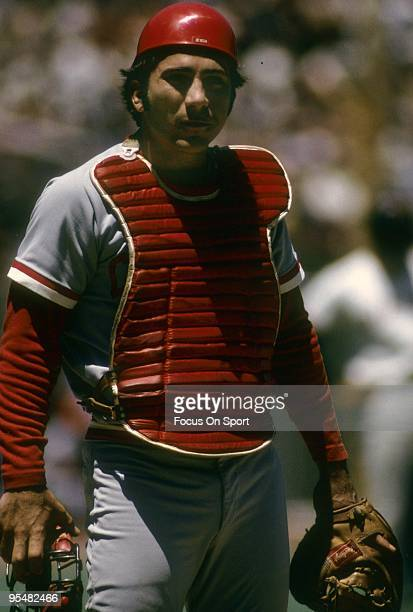 CIRCA 1970's Catcher Johnny Bench of the Cincinnati Reds with mask off standing at home plate during a MLB baseball game circa 1970's Bench Played...