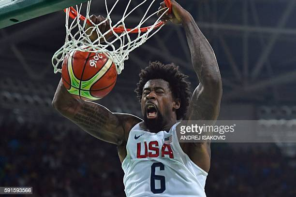 USA's centre DeAndre Jordan dunks during a Men's quarterfinal basketball match between USA and Argentina at the Carioca Arena 1 in Rio de Janeiro on...