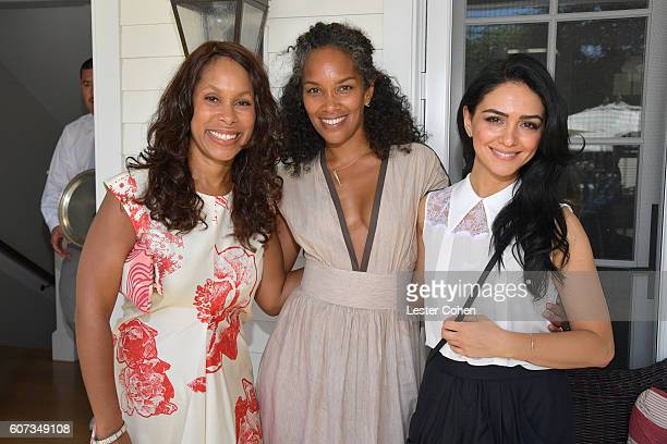 ABC's Channing Dungey writer Mara Brock Akil and actress Nazanin Boniadi at the ICM Partners PreEmmy Brunch on September 17 2016 in Santa Monica...