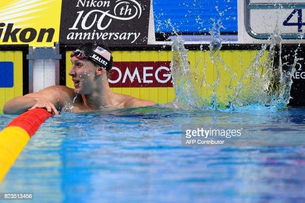 USA's Chase Kalisz celebrates after winning the Men's 200m medley final during the swimming competition at the 2017 FINA World Championships in...