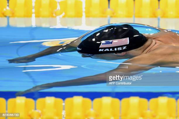 USA's Chase Kalisz competes in a men's 200m medley semifinal during the swimming competition at the 2017 FINA World Championships in Budapest on July...