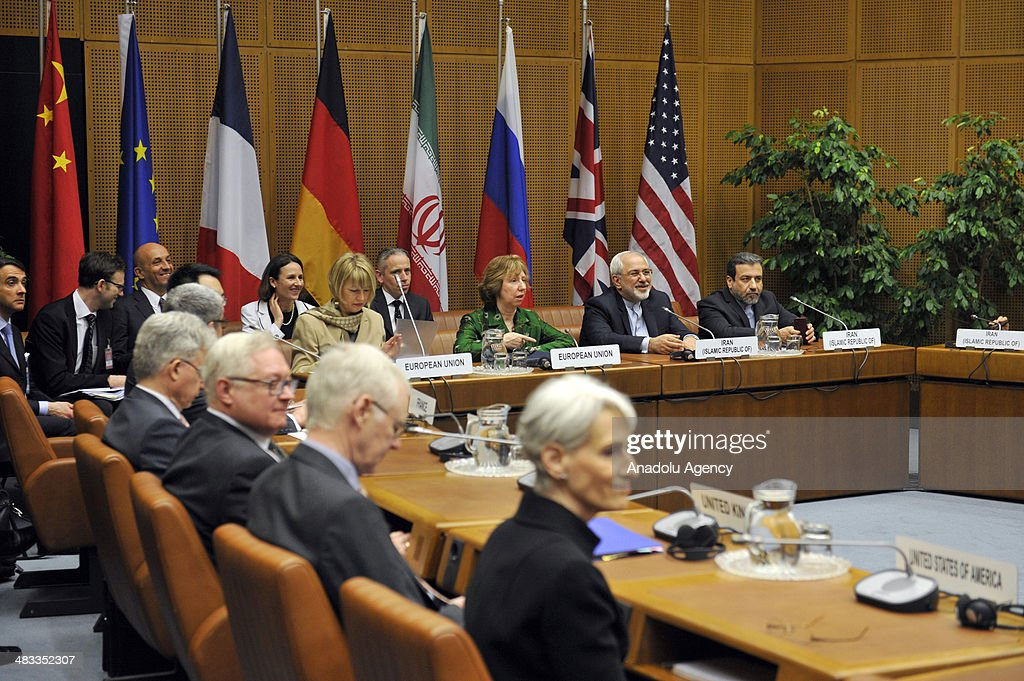 EU's chief foreign policy official, Catherine Ashton and Iranian Foreign Minister Javad Mohammad Zarif attend the third round of Iranian nuclear negotiations which begins in Vienna, Austria on April 8, 2014.