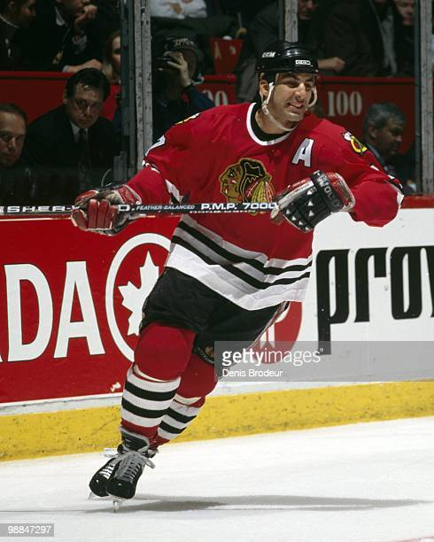 MONTREAL 1990's Chris Chelios of the Chicago Black Hawks skates against the Montreal Canadiens during the early 1990's at the Montreal Forum in...