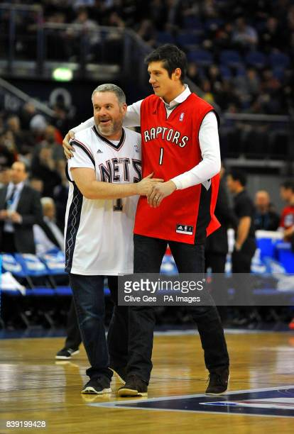 DJ's Chris Moyles and Veron Kay before during the NBA match at the o2 Arena London