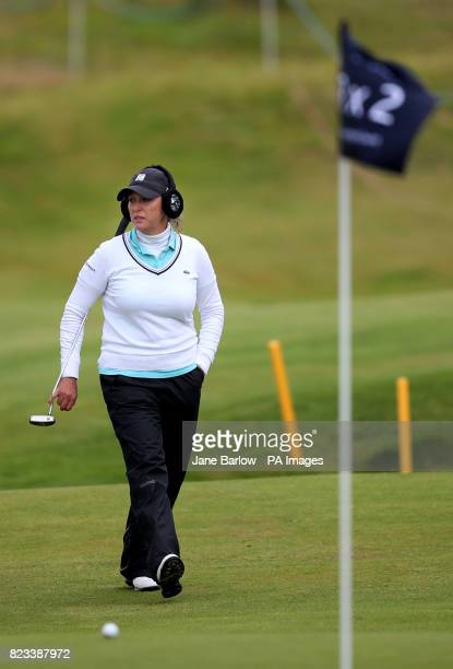 USA's Christie Kerr on the 18th green during day one of the Aberdeen Asset Management Ladies Scottish Open at Dundonald Links North Ayrshire
