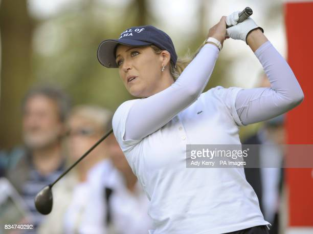 USA's Christie Kerr tees off from the 16th during Round Two of the Ricoh Women's British Open at Sunningdale Golf Club Berkshire