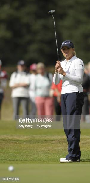 USA's Christie Kerr watches her putt on the 15th green during Round Two of the Ricoh Women's British Open at Sunningdale Golf Club Berkshire