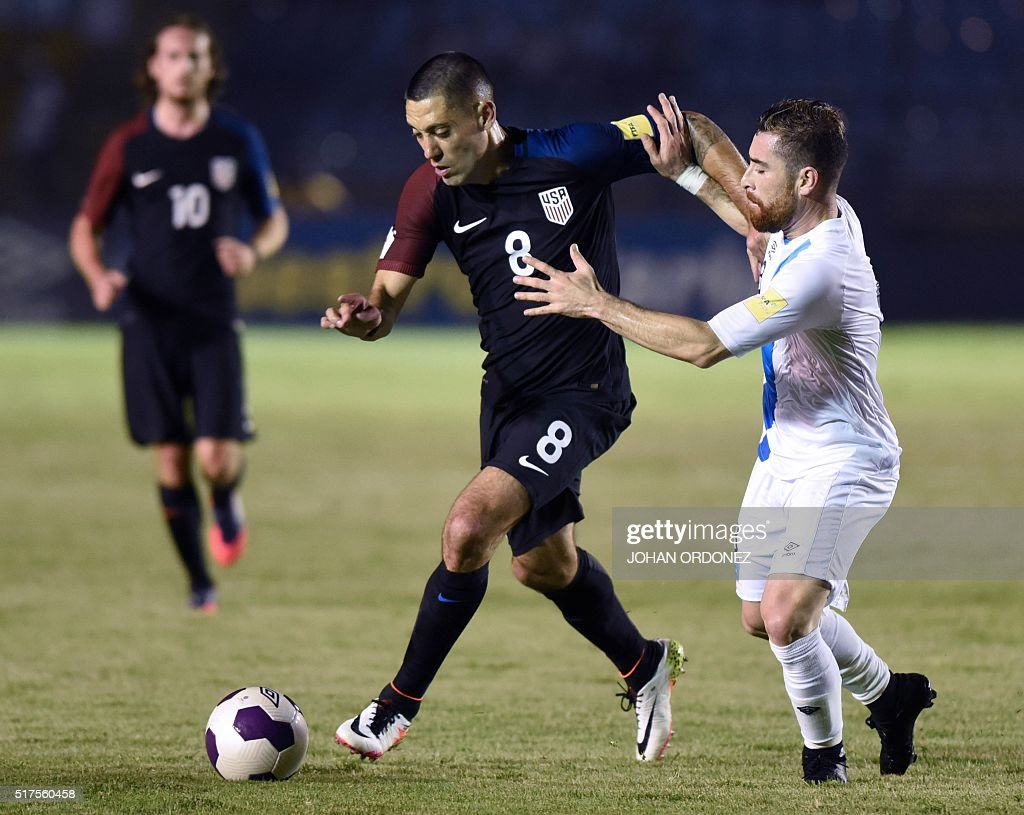 USA's Clint Dempsey and Guatamala's Jean Marquez vie for the ball during their Russia 2018 FIFA World Cup Concacaf Qualifiers' football match in...
