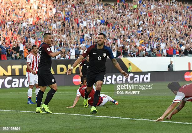 USA's Clint Dempsey celebrates after scoring against Paraguay during the Copa America Centenario football tournament in Philadelphia Pennsylvania...