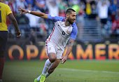 USA's Clint Dempsey celebrates after teammate Gyasi Zardes scored against Ecuador after his pass during their Copa America Centenario football...
